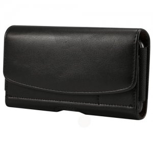 Black Holster Leather Belt Clip Phone Pouch Bag Case 5.5 Inch Card Holder Cover - BLACK