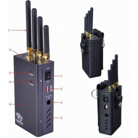 Four Bands Handheld Cell Phone, GPS and Wifi Signal Jammer with Single-Band Control - For Worldwide all Networks